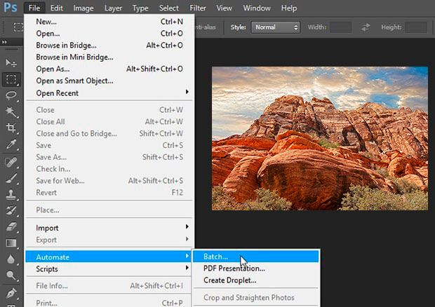 Run batch image resizing in photoshop.