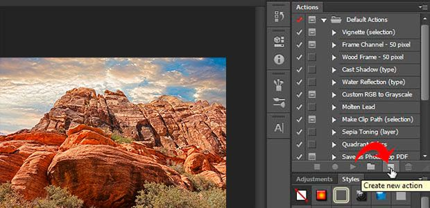 Create a new action in photoshop.
