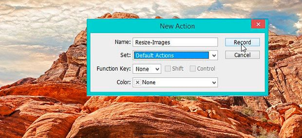 Image resizing action in photoshop.