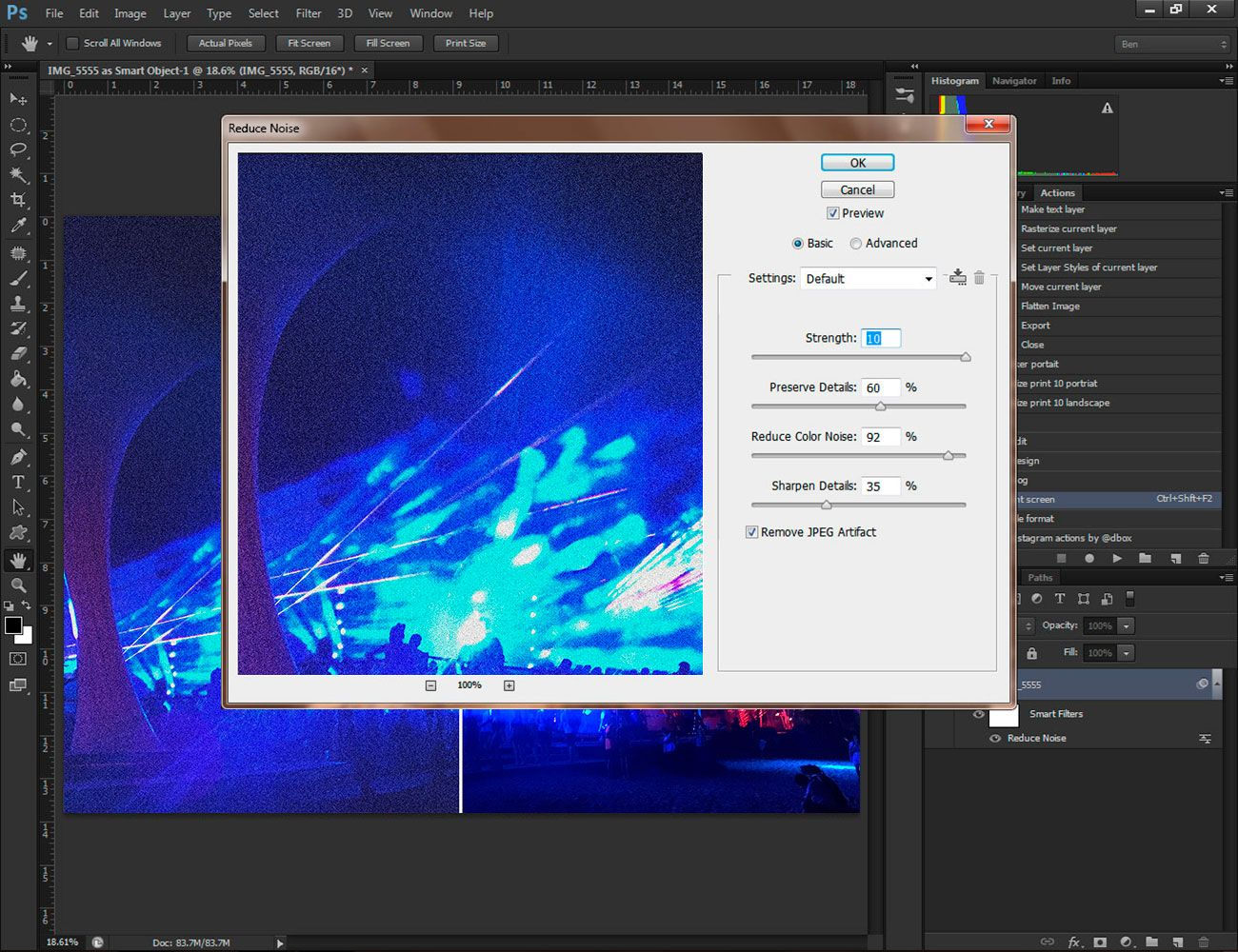Get rid of noise in adobe photoshop.