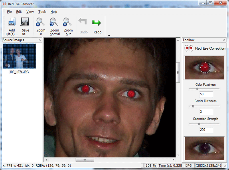 One-click red eye remover.